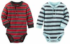 OSHKOSH Infant Boy TWO Long Sleeve Striped Thermal...