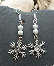 Tibetan Silver Christmas Snowflake & White Miracle Bead Drop Earrings UK