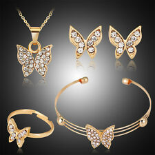 Gold Butterfly Crystal Pendant Necklace Earrings Ring Set Wedding Jewelry New