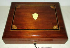 More details for handsome unusual slanted victorian inlaid walnut table top box with key