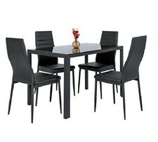 5 pieces Black Kitchen Dining Table Set W / Glass Top And 4 Leather Chairs