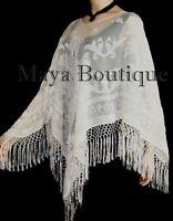 Ivory Maya Matazaro Silk Burnout Velvet Poncho Top Piano Shawl Fringed Wrap