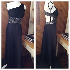 MXI Black Satin Silver Beaded Open Back DRESS Evening Long Gown Lined 9 / 10