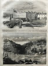 Parliament Buildings, Quebec. Niagara Above The Falls. Wood Engraving, 1860.