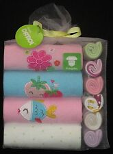 Baby Gift Pack Shower Girls Set 4 Rompers 6 Facewashers Sz 9 Mth
