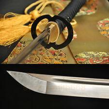 "41""Japanese Samurai Sword Katana Oil Tempered DAMASCUS Steel Musashi Iron Tsuba"