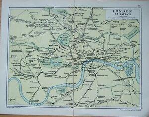 "GEO. PHILIP + SON ANTIQUE MAP LONDON RAILWAYS  9"" X 6.5"""