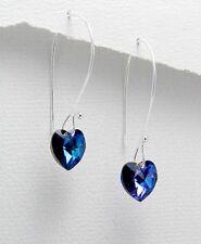 """1.5"""" Long Sterling Silver W/Swarovski Crystal Capri Blue Hearts Hook Earrings"""