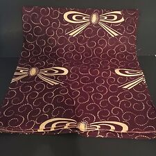 Vtg 30's 40's Burgundy and Cream Bows and Swirls Batik Print Fabric