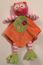"2011 Baby Starters Orange Owl Lovey Security Blanket Rattle 12"" x 12"" Baby"