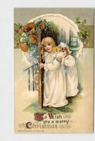 PPC POSTCARD WINSCH TO WISH YOU MERRY CHRISTMAS GIRLS IN NIGHTGOWN BELLS HOLLY E