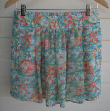 Zara Basic Short Blue Pink & Yellow Floral Skirt - Size M