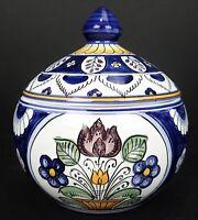 Hand Painted Lidded Jar Hungary MJ Folk Art Pottery Bowl Candy Dish Stash