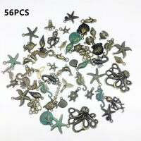 56pcs Bulk Mixed Tibetan Silver Charm Ocean Pendants Beads DIY Jewelry HQ