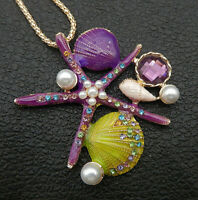 Betsey Johnson Purple Enamel Crystal Shell Conch Starfish Pendant Long Necklace