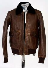 Burberry Brit Brown Leather Bomber Jacket Shearling Collar Medium Approx £1495