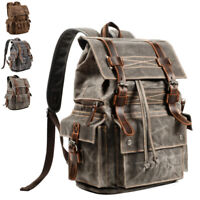Vintage Water Resistant Waxed Canvas Flap Drawstring Backpack Day Travel Hiking
