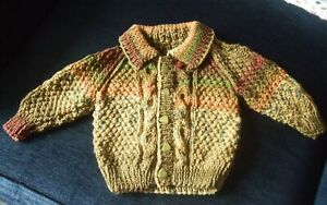 """Hand-knitted Aran Jacket to fit 6-12 month boy (20"""" chest)"""