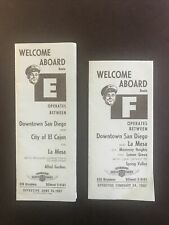 San Diego Transit System 1957 Bus Timetables-Lines E & F-San Diego California