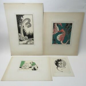 4x Art Prints by Thos. A. Godfrey Animals Various Styles Card Mounted Lot E