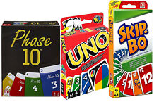 Mattel W2087+FPW38+52370 Bundle - 3-er Set Kartenspiele: UNO, SkipBO und Phase10
