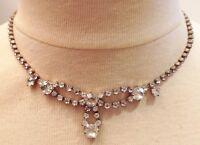 collier bijou vintage couleur or blanc ancien cristaux taillé diamant 616