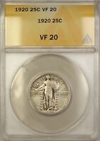 1920 25C Standing Liberty Quarter Silver Coin ANACS VF-20