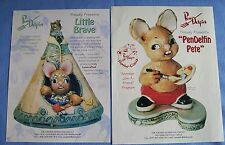 2 Pendelfin Glossy Exclusive Advertising Sheets Little Brave & Canadian Pete
