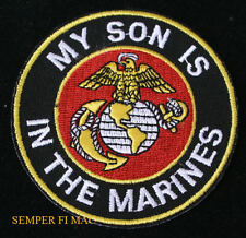MARINES MY SON IS A US MARINE HAT PATCH USMC PROUD PARENT PIN UP MOM DAD MCRD