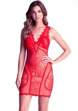 NWT Bebe lace Dress beige red strap overlay nude deep v Bodycon top XXS 00 0