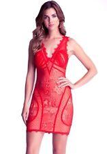 NWT Bebe lace Dress beige red strap overlay ivory deep v top M Medium 6 club