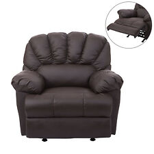HomCom Armed Recliner Sofa Chair Reclining Couch PU Leather Brown