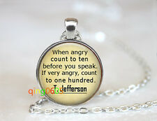 Wise by Thomas Jefferson dome Tibet silver Chain Pendant Necklace wholesale