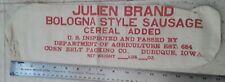 Vintage Julien Brand Bologna Style Sausage Corn Belt Packing Iowa Cloth Bag