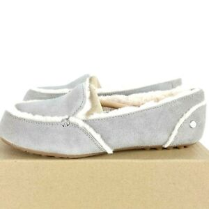 UGG Hailey Womens Loafer Shoes Size US 7 Shearling Seal Silver Sheepskin Suede