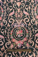 French Antique c.1870 HandBlocked Bird,Roses & Ribbon Cotton Fabric Textile