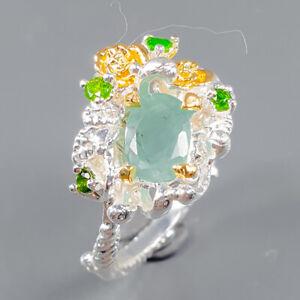 Women jewellery Art Emerald Ring Silver 925 Sterling  Size 7 /R163740