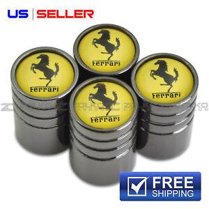 VALVE STEM CAPS WHEEL TIRE FOR FERRARI BLACK - US SELLER VE54