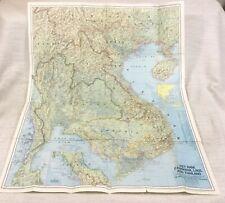 1967 Vintage Map of Vietnam Cambodia Laos Thailand Malaysia Siam Hainan Anam