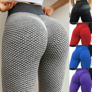 Hot Women High Waist Yoga Pants Anti-Cellulite Leggings Bum Butt Lift Sports Gym