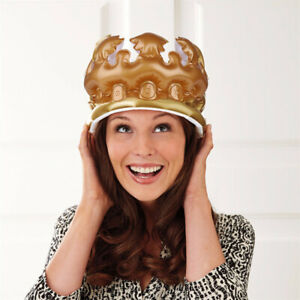 Inflatable Adult Gold Crown King Queen Hat Fancy Dress Toy Party Birthday Decor