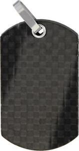 Bastion Pure Carbon Fiber Black Dog Tag Gloss Finish Ball Chain Necklace TN203