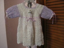 Beautiful Crochet Purple & White with Ribbons Baby Dress NEW