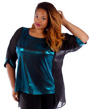 NEW! WOMEN'S PLUS SIZE CLOTHING TEAL METALLIC HOLIDAY BLOUSE 1X