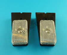 FREE P&P* 2 x Clear Front Marker Lamp Lights & Reflector on Bracket - Trailers