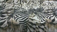 top quality  Soft Lycra off White/black/light brown tiger print fabric 60''wide
