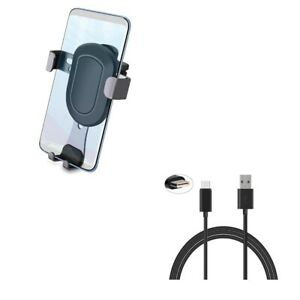 Holder Air Vent Car Mount w Cord Charger 6ft USB Cable for Smartphones