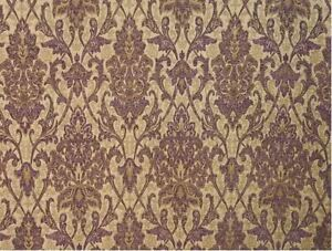 """57"""" Wide Drapery Upholstery Damask Chenille Fabric Purple Sold by The Yard"""