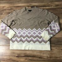 J. Crew Geometric Fair Isle Crewneck Sweater S