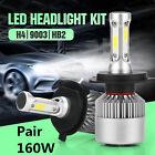 Car LED H4 9003 HB2 Hi/Lo Dual Bulb Fog Driving Headlight Kit 160W 16000LM 6000K